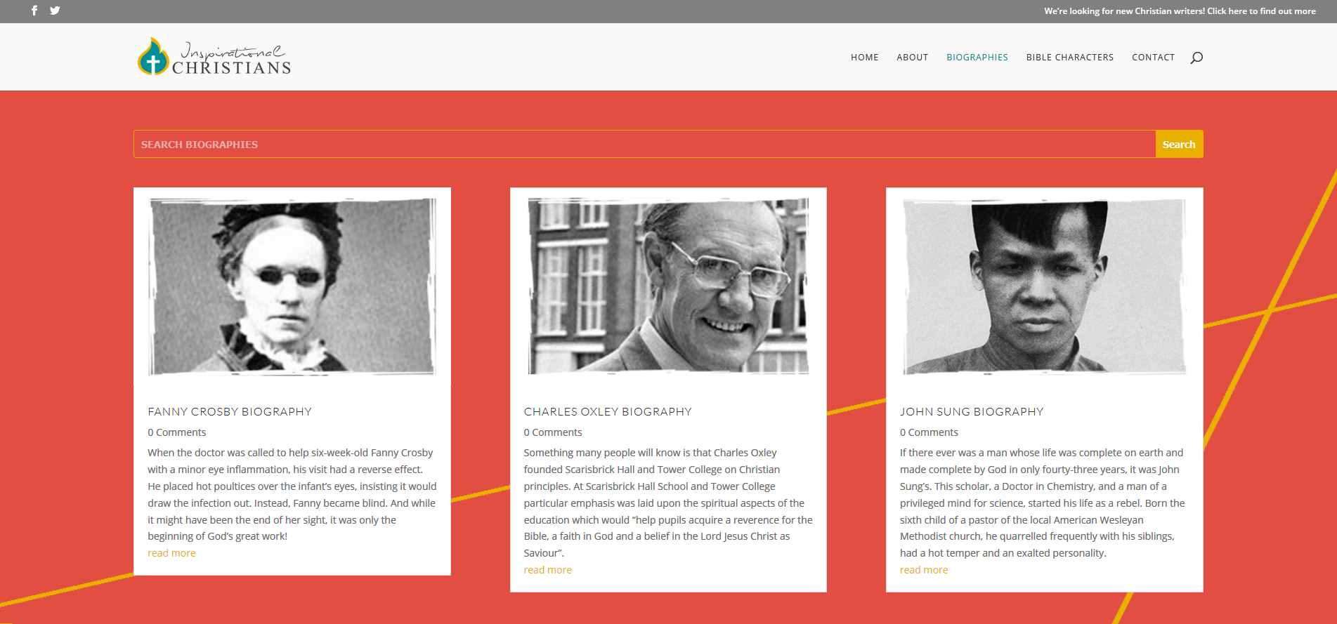 Inspirational Christians Biographies Layout